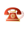 old retro vintage wheel red telephone with cord vector image