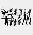 parkour training sport silhouette vector image vector image