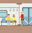 passengers on their places in metro train car vector image