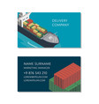 sea shipping logistics business card template vector image vector image