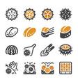 sea urchin icon set vector image vector image