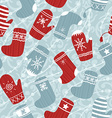 Seamless Christmas background with mittens and vector image vector image