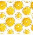 seamless pattern with citrus orange fruit circles vector image