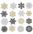 set of gold and silver snowflakes holiday vector image vector image