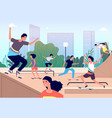 skateboard park fun extreme skating park girls vector image