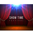 stage with red curtains closed cinema and opera vector image