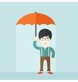 Successful man with umbrella vector image