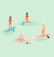 surfing or surf icons set banner vector image