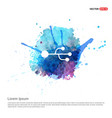 usb connection icon - watercolor background vector image vector image