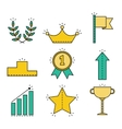 Victory and success Set of colored flat icons vector image vector image