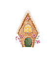 watercolor gingerbread house vector image vector image