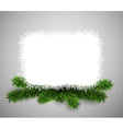 White paper card over christmas eve branches vector image