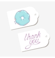 White paper tags THANK YOU hand drawn lettering vector image vector image