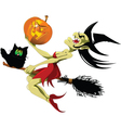 Witch and black cat vector image vector image