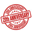 20th anniversary red grunge stamp vector image vector image