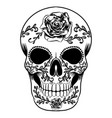 a day dead skull full with big roses vector image