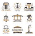 badges law and legal hammer judge legal vector image