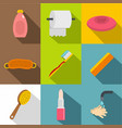 bathroom accessories icon set flat style vector image vector image
