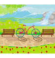 bicycle stands in the park between the benches vector image vector image
