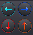 black buttons with colored arrows up down right vector image vector image