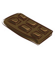 black chocolate bar on white background vector image vector image