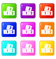 bricks icons 9 set vector image vector image