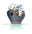 cartoon cargo ship vector image vector image
