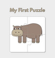 cartoon hippo puzzle template for children vector image