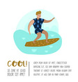 character man surfing at the beach poster vector image vector image