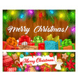 christmas garland xmas gift ball candy banner vector image vector image