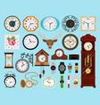 clocks icons collection vector image vector image