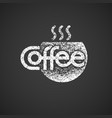 coffee lettering with cup isolated on black vector image vector image