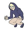 comic cartoon mischievous boy in hooded top vector image