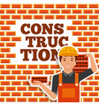 construction worker holding brick and wall vector image