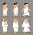 cute kids wear hajj pilgrims clothes character set vector image vector image