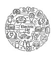electric car linear icons concept eco vector image