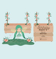 fairy with wooden label invitation card vector image vector image