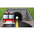 Fire engine driving out of tunnel vector image vector image