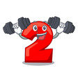 fitness cartoon paper number two on letter vector image