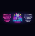 gamer play win logo neon sign logo design vector image vector image