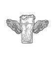 glass beer and wings sketch vector image vector image