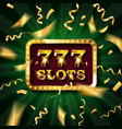 golden slot machine with flying golden confetti vector image