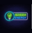 green energy neon sign eco energy design vector image vector image