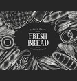 hand drawn bakery design template bread on chalk vector image vector image