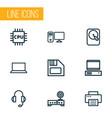 hardware outline icons set collection of computer vector image vector image