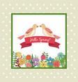 hello spring greeting card couple bird ribbon vector image
