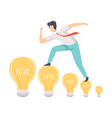 man walking on light bulbs searching for creative vector image vector image