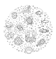 Marine life icon set Nautical design elements vector image vector image