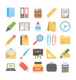 office and stationery flat icons pack vector image
