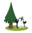 penguin and christmas tree cartoon vector image